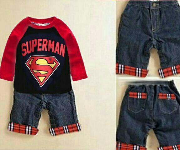 Setelan Baju Anak Laki-laki Keren Gambar Superman Model Terbaru