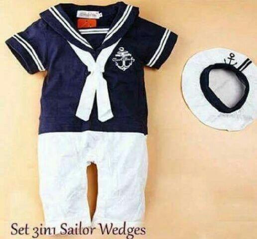 Setelan Baju Anak Laki-laki Set Sailor Keren Jaman Sekarang