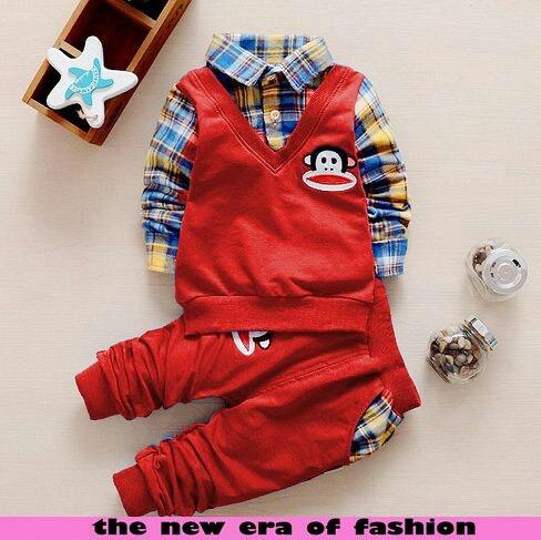 Setelan Baju Anak Laki-laki Warna Merah Keren Model Terbaru