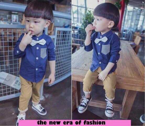 Setelan Baju Kemeja & Celana Panjang Anak Laki-laki Keren Model Terbaru