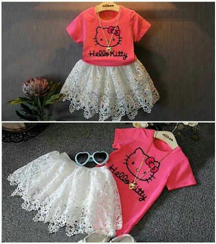 Setelan Baju & Rok Anak Cewek Gambar Hello Kitty Cantik Lucu