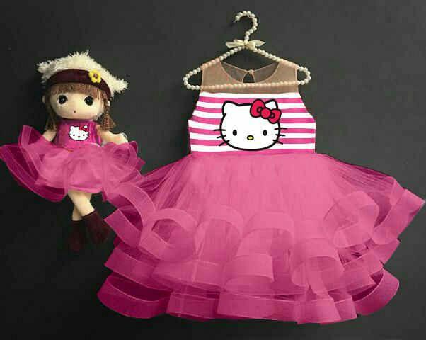 Baju Dress Anak Perempuan Desain Tutu Hello Kitty Cantik Lucu