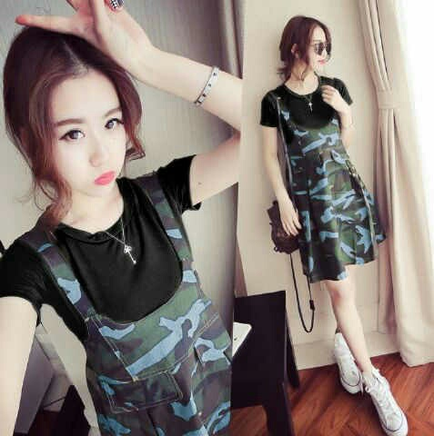 Baju Dress Pendek Kodok Setelan Overall Army Cantik Murah