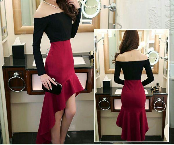 Baju Dress Pendek Lengan Panjang Model Sabrina Cantik Murah