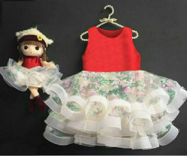 Baju Dress Pesta Anak Perempuan Motif Bunga Cantik Lucu