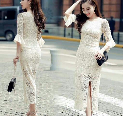 Baju Gaun Long Dress Brukat Model Terbaru Murah dan Cantik