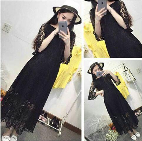 Baju Gaun Long Dress Brukat Murah dan Cantik Model Terbaru