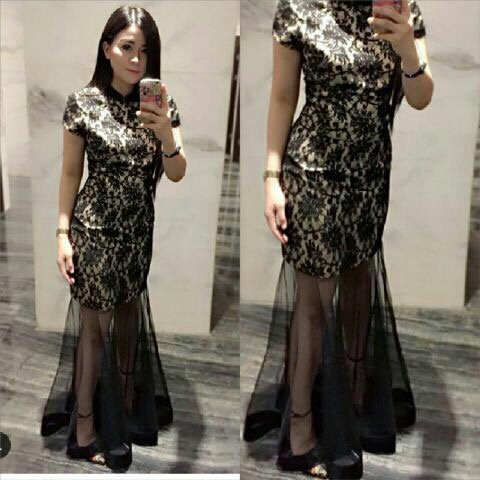 Baju Gaun Long Dress Cantik Murah Kerah Shanghai Model Terbaru