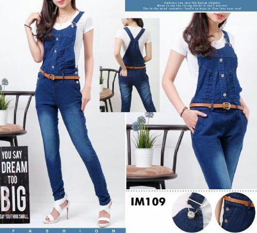 Baju Jumpsuit Kodok Jeans Wanita Celana Panjang Cantik