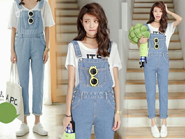 Baju Jumpsuit Kodok Jeans Wanita Celana Panjang Terbaru