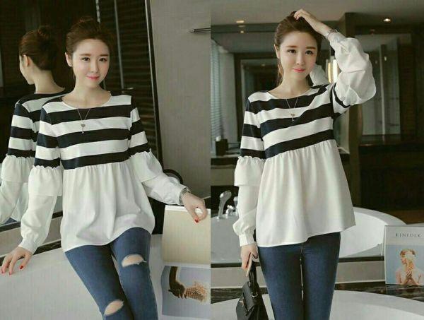 Baju Kaos Cewek Motif Belang Lengan Panjang Model Terbaru