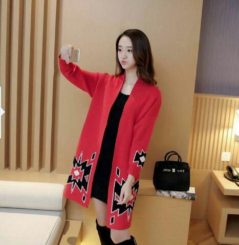 Baju Long Cardigan Cantik & Modis Model Terbaru Warna Merah