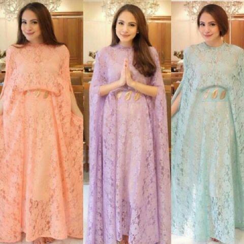 Baju Long Dress Kaftan Panjang Cantik Bahan Brukat Murah