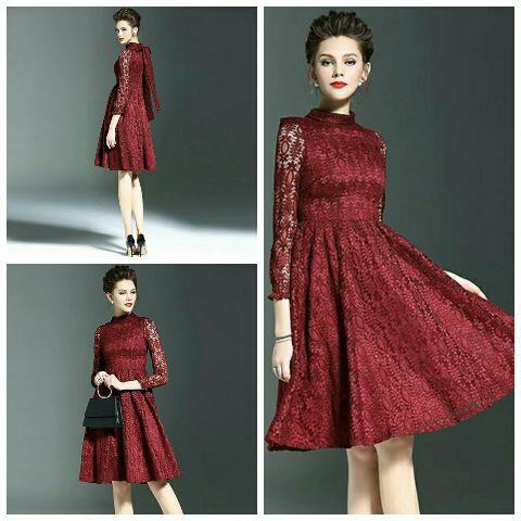 Baju Mini Dress Merah Pendek Wanita Dewasa Model Terbaru