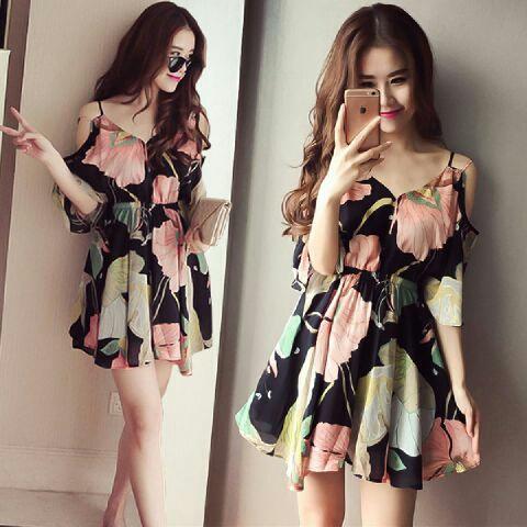 Baju Mini Dress Pendek Motif Bunga Cantik dan Murah