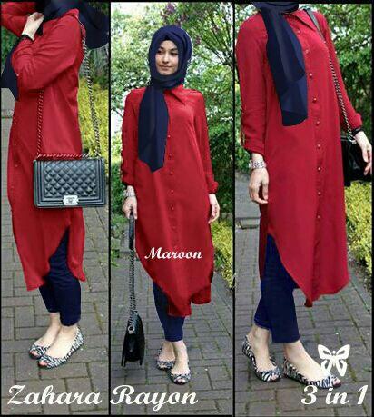 Baju Setelan Hijab Celana 3 in 1 Murah Modis Model Terbaru