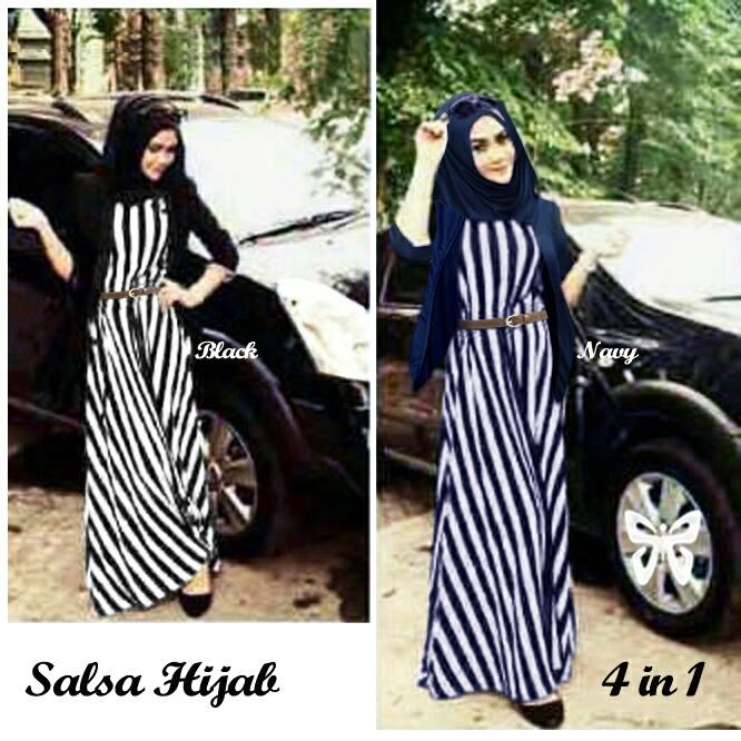 Baju Setelan Hijab Model Gamis Motif Belang Modis Terbaru