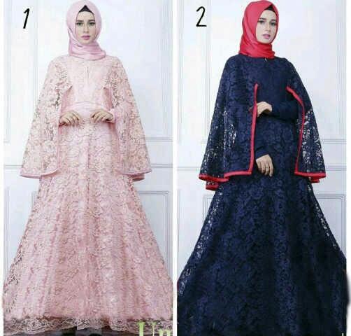 Model Gamis Terbaru Baju Muslimah Wanita Bahan Brukat Cantik