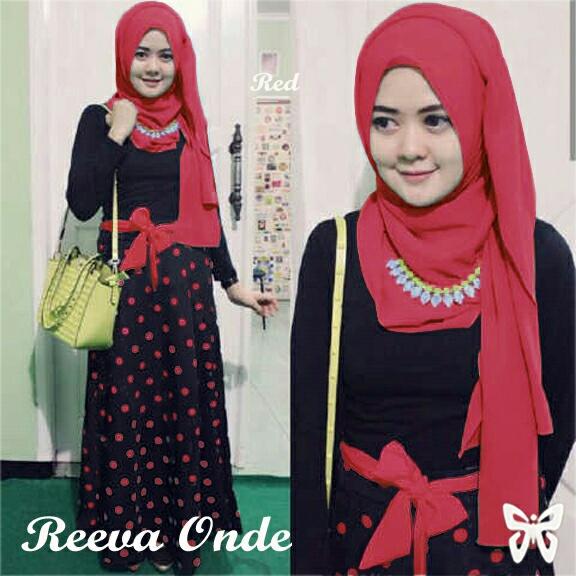 Model Gamis Terbaru Baju Setelan Hijab Modis Motif Polkadot
