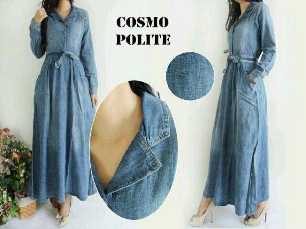 Model Gamis Terbaru Long Dress Muslim Bahan Jeans Modern