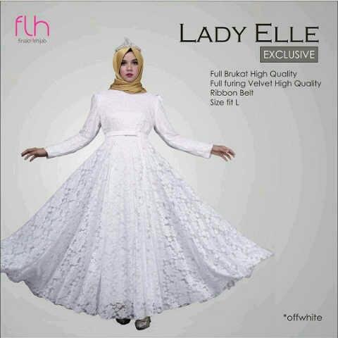 Model Gamis Terbaru Warna Putih Bahan Brukat Cantik Modern