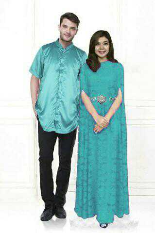 aju Couple Long Dress Kaftan Brukat Keren Model Terbaru