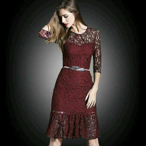 Baju Dress Brukat Pendek Wanita Dewasa Cantik Model Terbaru