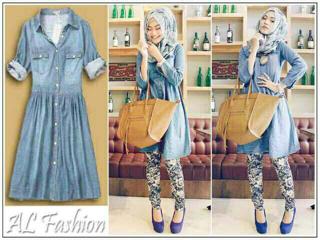 Baju Dress Bahan Jeans Cantik dan Murah Lengan Panjang