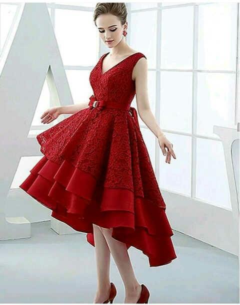 Baju Dress Brukat Warna Merah Cantik dan Murah Terbaru
