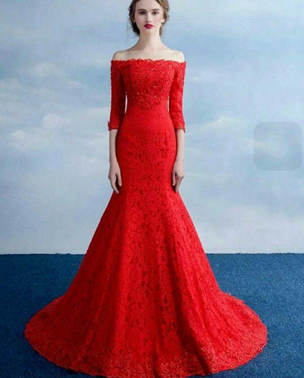 Baju Gaun Long Dress Maxy Mermaid Merah Model Terbaru