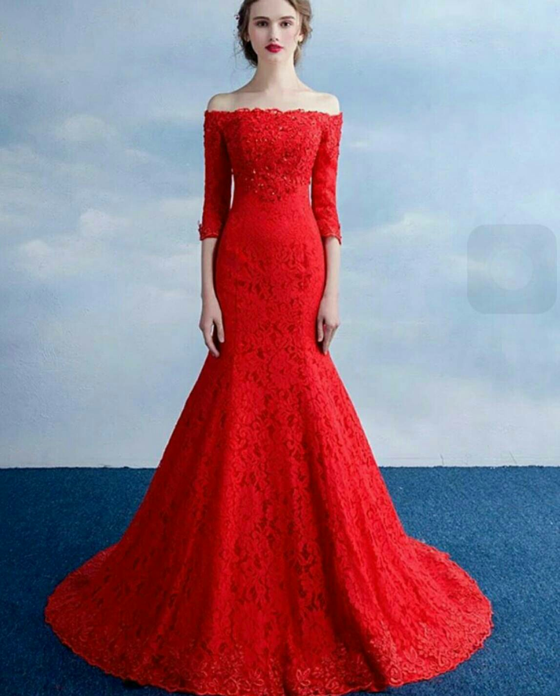Baju Gaun Long Dress Maxy Mermaid Merah Model Terbaru Ryn Fashion