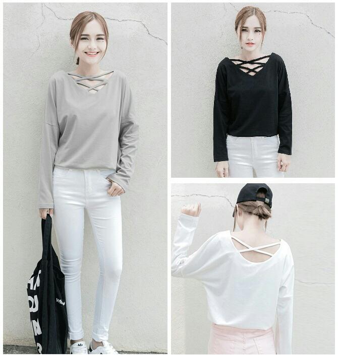 Baju Kaos Polos Wanita Lengan Panjang Model Terbaru | RYN Fashion