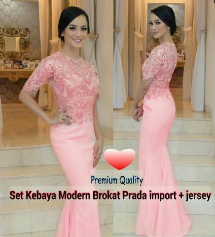 Baju Kebaya Brukat Pink Cantik Modern Model Terbaru