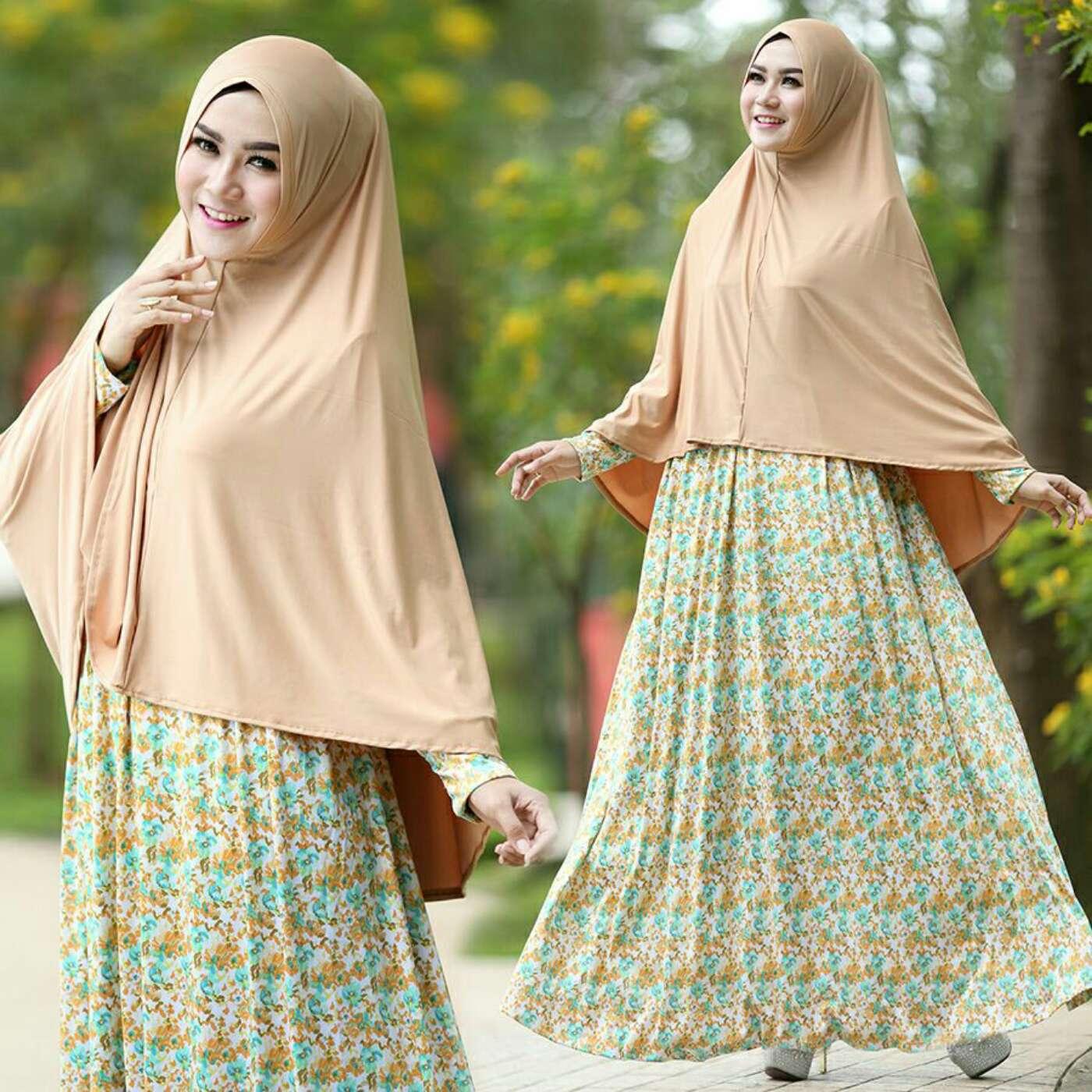 Baju Model Gamis Syari Motif Bunga Modern Model Terbaru Warna Mocca