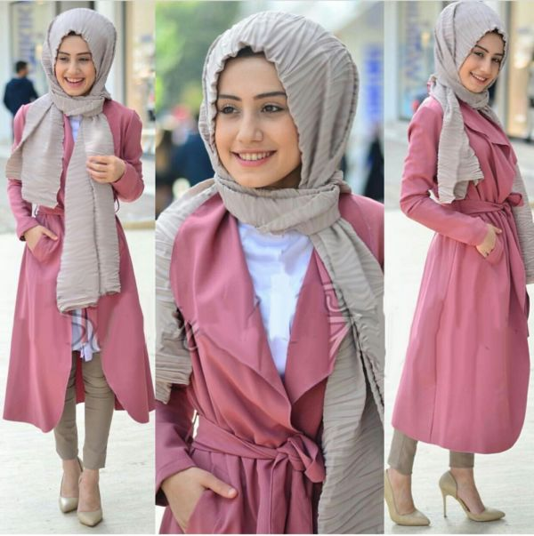 Baju Setelan Hijab Celana Modis Murah Desain 4 in 1 Long Cardigan