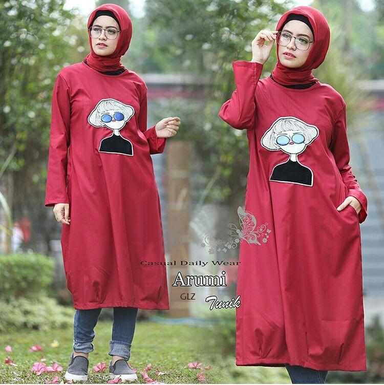 Baju Setelan Hijab Modis Tunik dan Pashmina Modern Model Terbaru