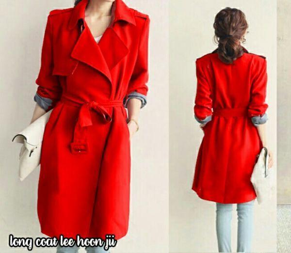 Model Baju Blazer Long Coat Warna Merah Wanita Ala Korea
