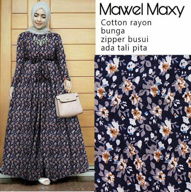 Model Baju Gamis Long Dress Muslim Terbaru Motif Bunga
