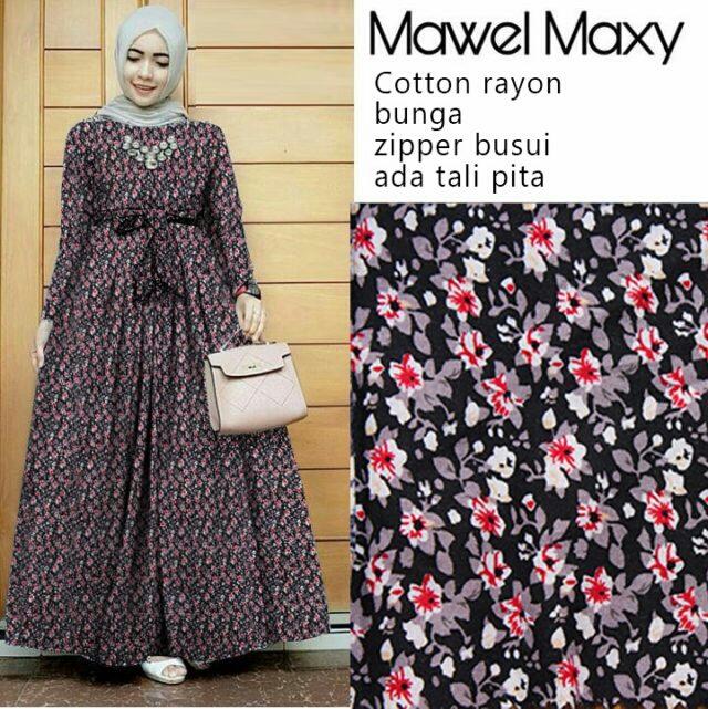 Model Baju Gamis Long Dress Muslim Terbaru Motif Bunga Ryn Fashion