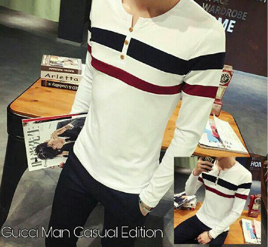Model Baju Kaos Putih Lengan Panjang Pria Keren Terbaru