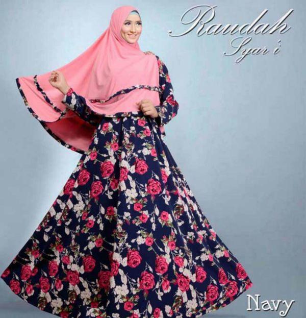 Model Gamis Syari Modern Style Hijab Muslimah Motif Bunga