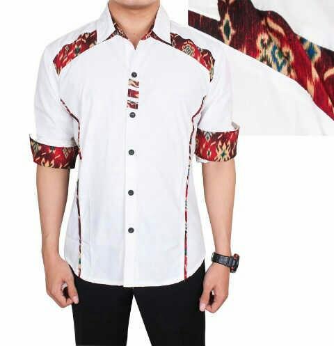 Model Kemeja Pria Lengan Panjang Warna Kombinasi Batik Keren