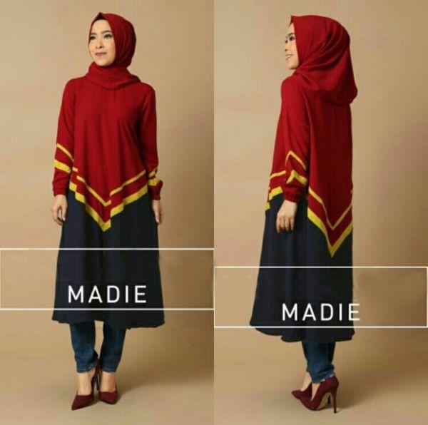 Setelan Baju Tunik Hijab Model Terbaru Modis Cantik Modern