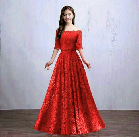 Baju Gaun Long Dress Merah Cantik dan Murah Model Terbaru