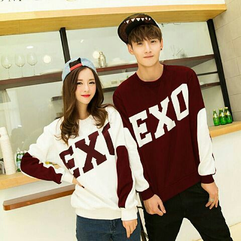 Baju Kaos Couple Exo Lengan Panjang Modern Model Terbaru