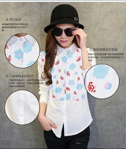Baju Kemeja Hem Putih Wanita Lengan Panjang Motif Cantik