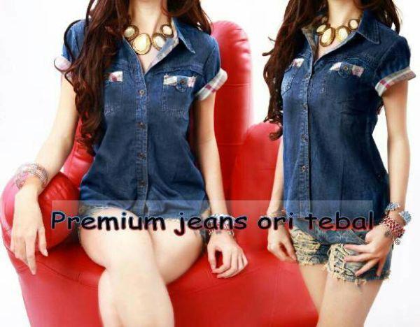 Baju Kemeja Jeans Wanita Lengan Pendek Model Terbaru