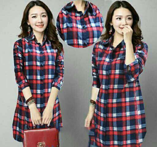 Baju Kemeja Kotak-kotak Wanita Lengan Panjang Modern