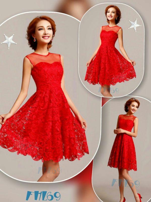 Baju Mini Dress Brukat Wanita Dewasa Warna Merah Cantik