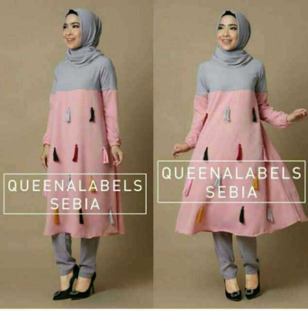 Baju Setelan Hijab Tunik Celana Modis Murah Model Terbaru